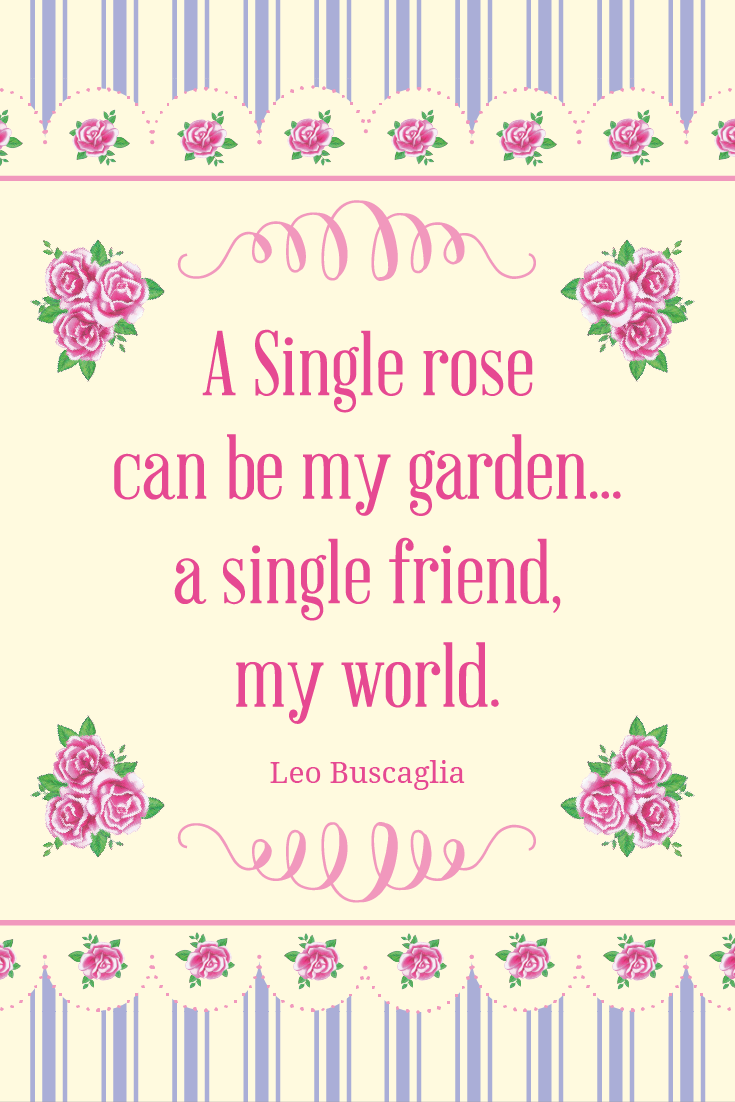 "Inspirational Quote of Day: ""A single rose can be my garden, a single friend my world."" #inspirationalquote 