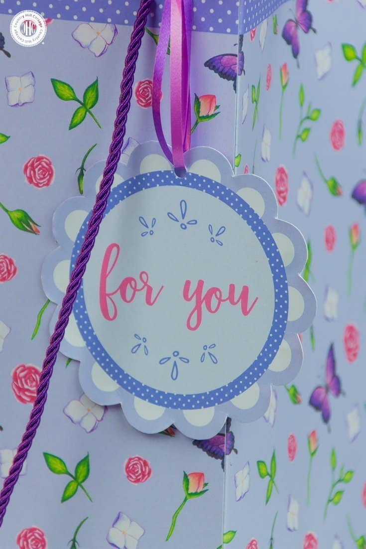 Our DIY gift bag looks extra cute with a free printable gift tag! #giftgiving #crafts | countryhillcottage.com