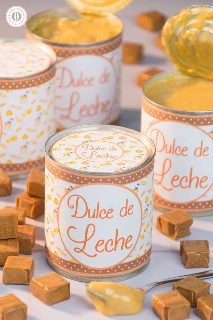Learn how to make Dulce de Leche! It's a rich, amber-coloured caramel spread that tastes delicious on its own, with ice cream or as a cupcake filling and also makes a great hostess gift or party favour. | countryhillcottage.com
