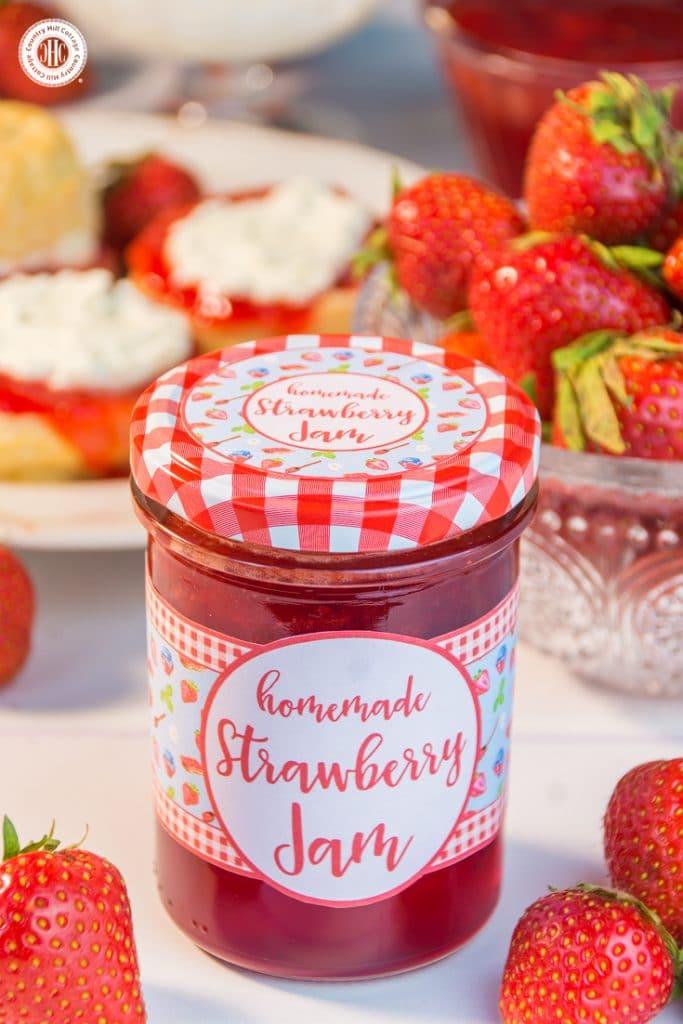 Jar with strawberry jam