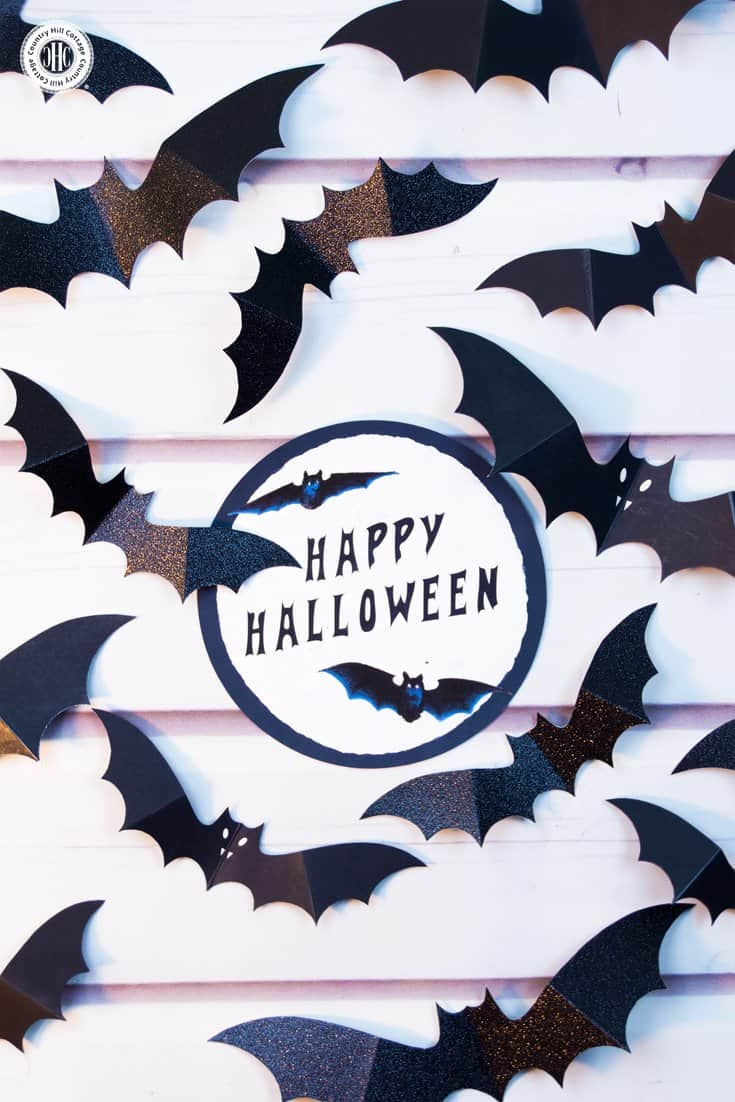 Swarm of Paper Bats DIY Halloween Wall Decoration #halloween #diy #papercrafts| countryhillcottage.com