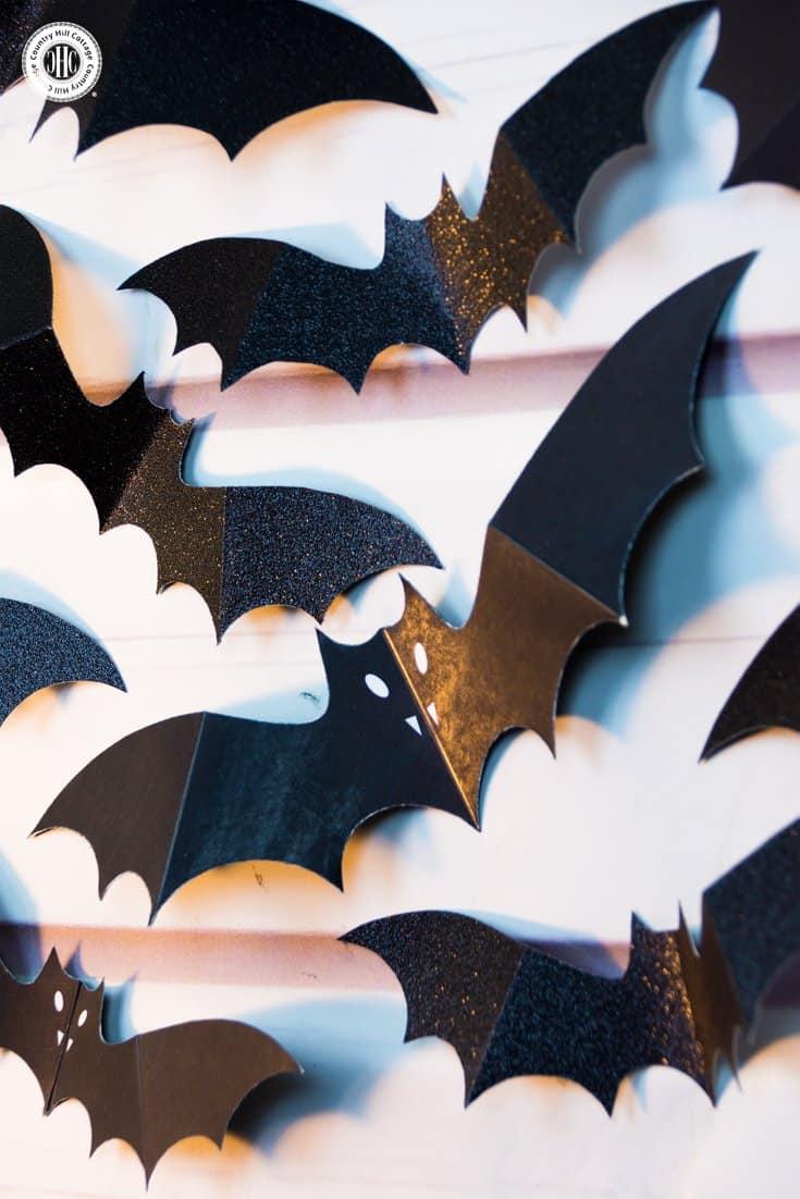 Swarm of Paper Bats DIY Halloween Wall Decoration #halloween #diy #papercrafts| countryhillcottage.com