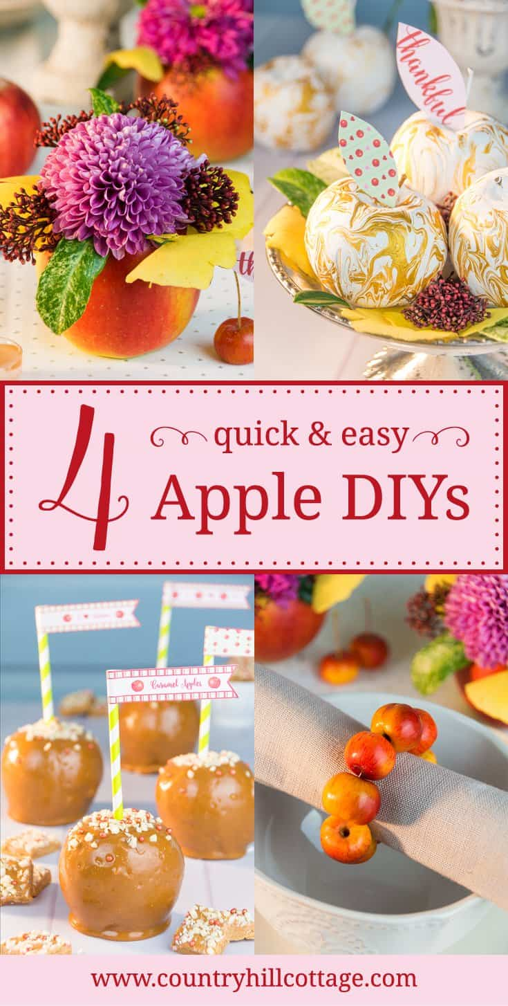 Today, we share for autumn-inspired apple DIYs that will bring a festive feel to your home and into your kitchen. Learn our tutorials for cute apple vases, crabapple napkin ring, decorative marbled apples and delicious caramel apples! #apple #DIY #crafts | countryhillcottage.com