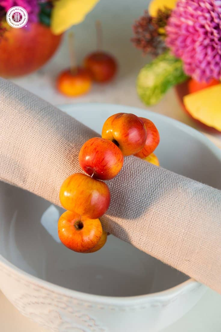These crabapple napkin rings look very cute and are super easy to make! We've also created printable name tags for this tutorial in our series about apple DIYs. #tablesettings #tablescapes | countryhillcottage.com