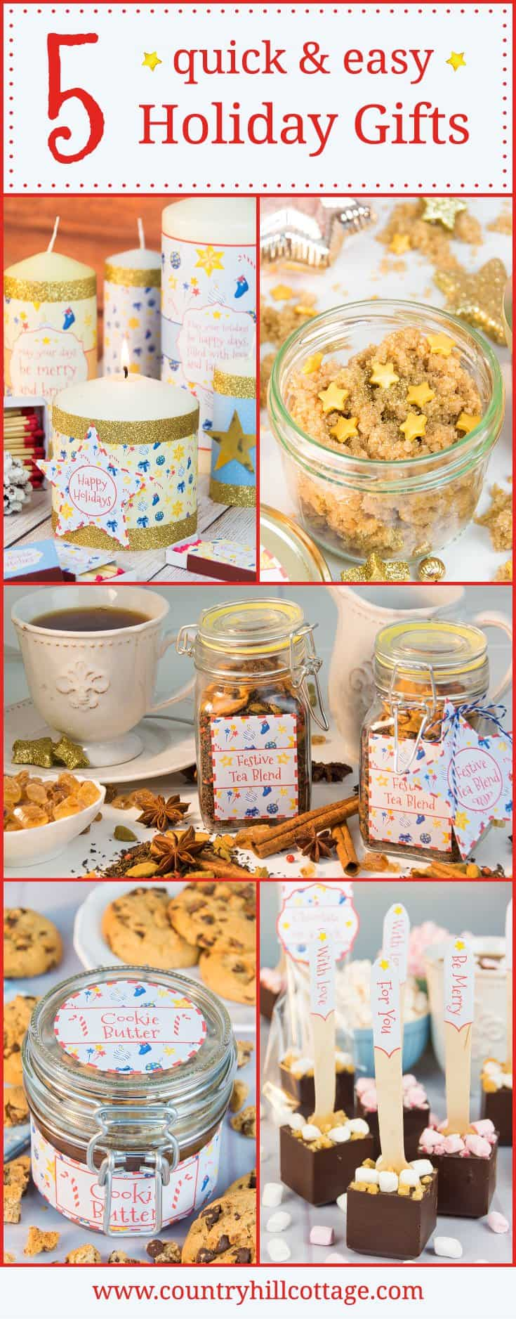 5 Quick Holiday Gift Giving Ideas: Gift candles, DIY body scrub, homemade cookie butter, hot chocolate on a stick and a festive tea blend | countryhillcottage.com