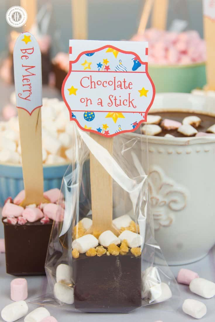 Make hot chocolate on a stick with mini marshmallows and candy, and get free printable gift tags – 5 quick holiday gift giving ideas   countryhillcottage.com