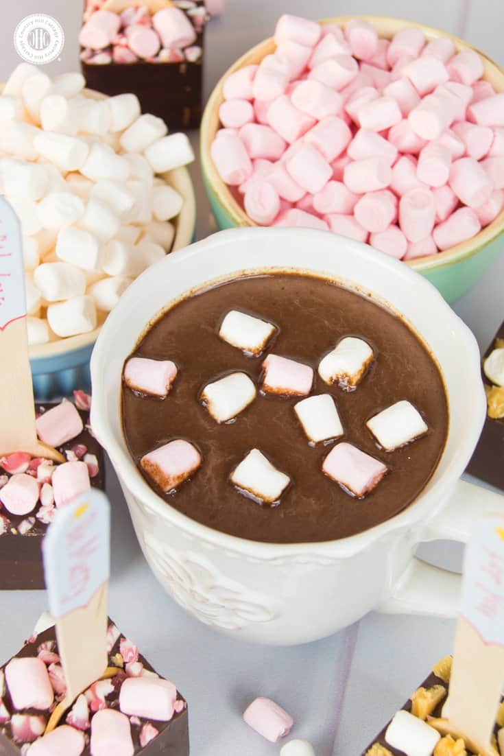 Make hot chocolate on a stick with mini marshmallows and candy, and get free printable gift tags – 5 quick holiday gift giving ideas | countryhillcottage.com