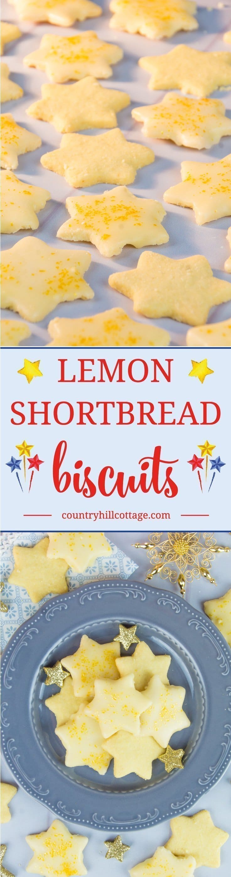 Lemon shortbread stars cookie recipe #cookies #biscuits | countryhillcottage.com