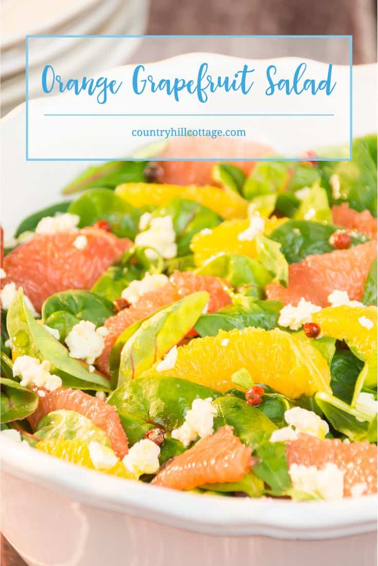 Orange grapefruit salad with goat cheese and pink pepper | countryhillcottage.com