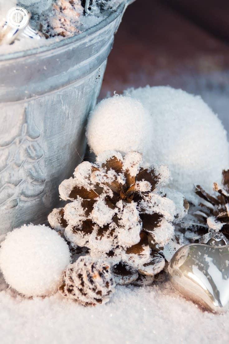 Sparkly Winter Fairy Garden Flower Arranging Tutorial | countryhillcottage.com