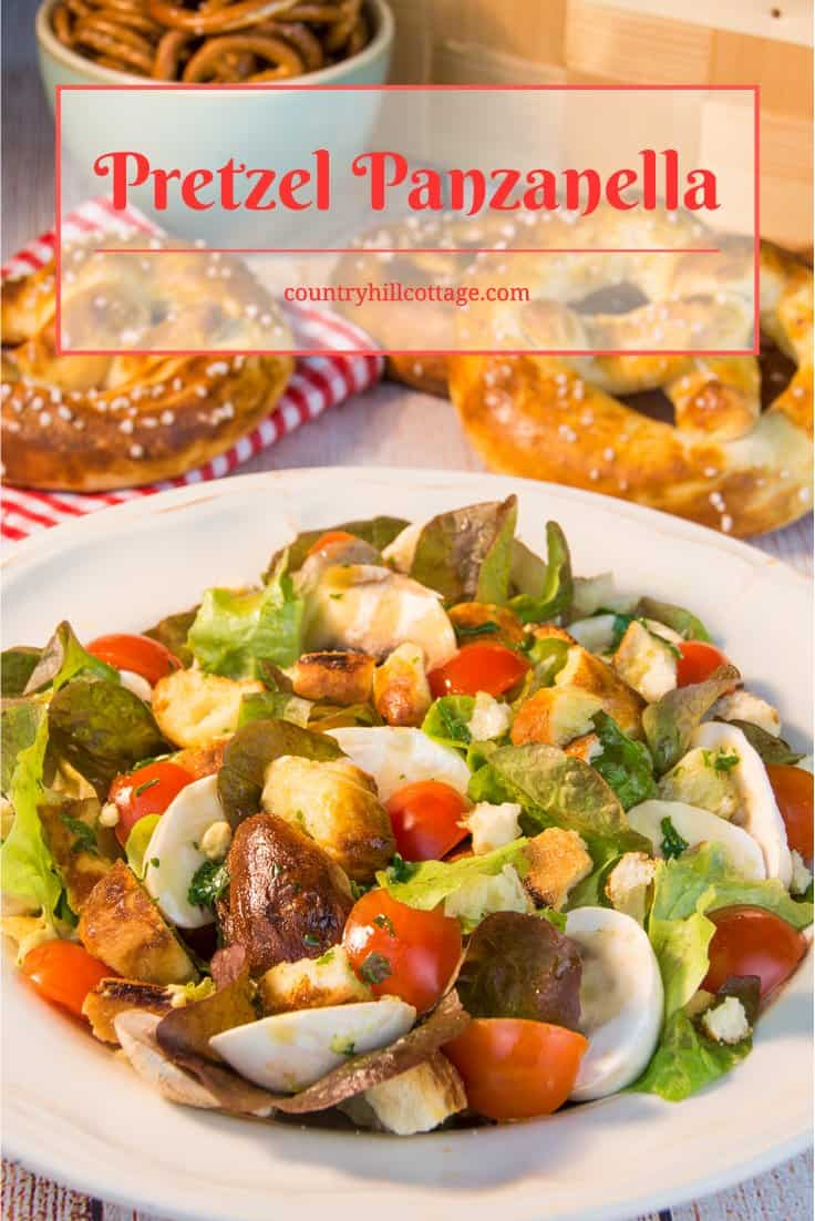 Pretzel Panzanella: This tasty bread salad is packed with crunchy bits of soft pretzels, mushrooms, juicy tomatoes, basil flavour and a generous amount honey mustard. | countryhillcottage.com