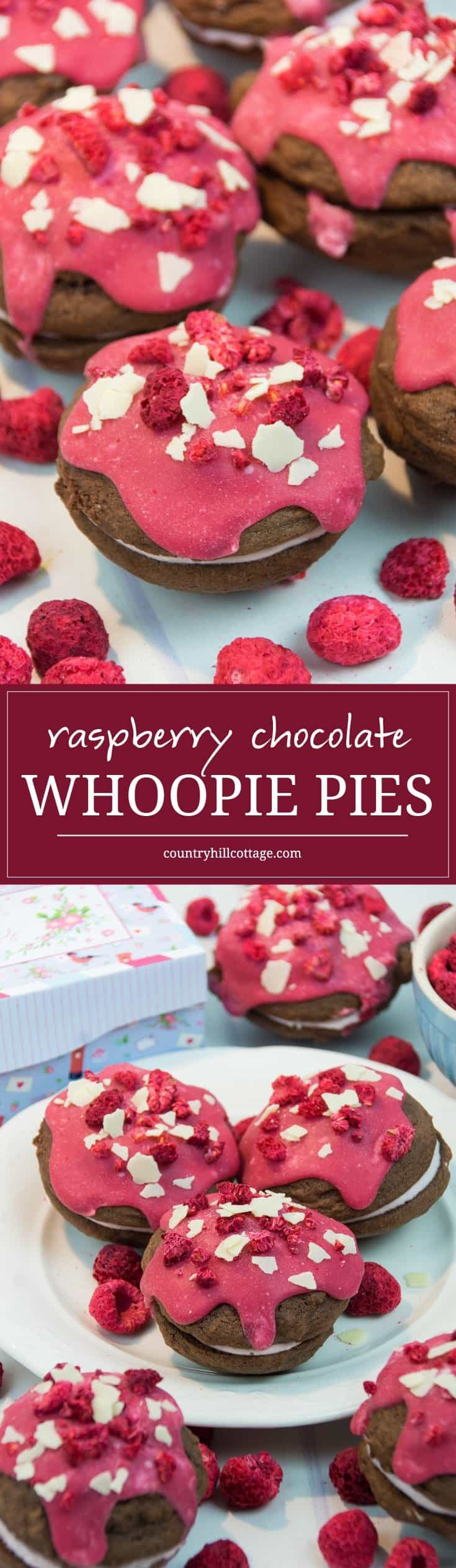 Send love to the special ones in your life with scrumptious raspberries chocolate whoopie pies! These cookies have a soft, cakey texture and a fruity, melt-in-your-mouth filling. | countryhillcottage.com