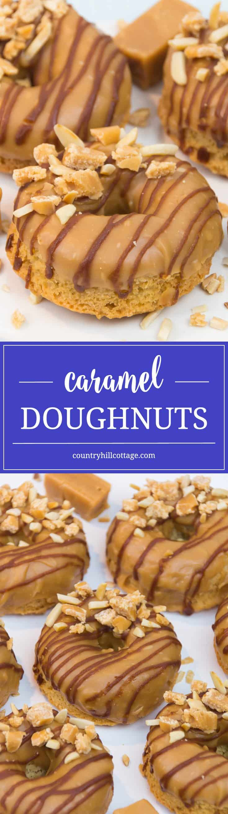 Let's bake caramel doughnuts with a sticky-sweet glaze! First, we whip up a brown sugar batter, and then make a rich and creamy caramel glaze from scratch. #caramel #donuts #recipe | countryhillcottage.com