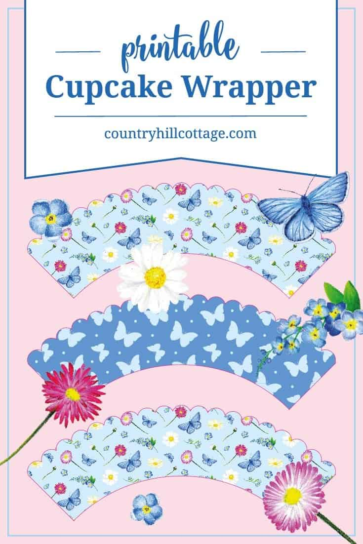You can download the printable cupcake wrappers we used to decorate our butterfly cupcakes at our website! #printable #cupcake #wrapper | countryhillcottage.com