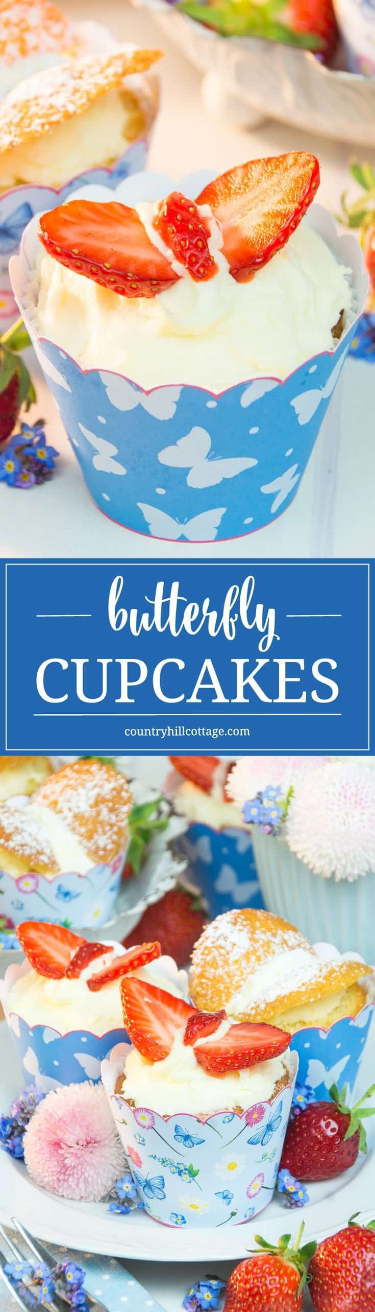 Our butterfly cupcakes are perfect treats for Mother's Day, birthdays or bridal showers. They look extra cute served in our printable cupcake wrappers. #recipe #cupcake #butterflycupcakes | countryhillcottage.com