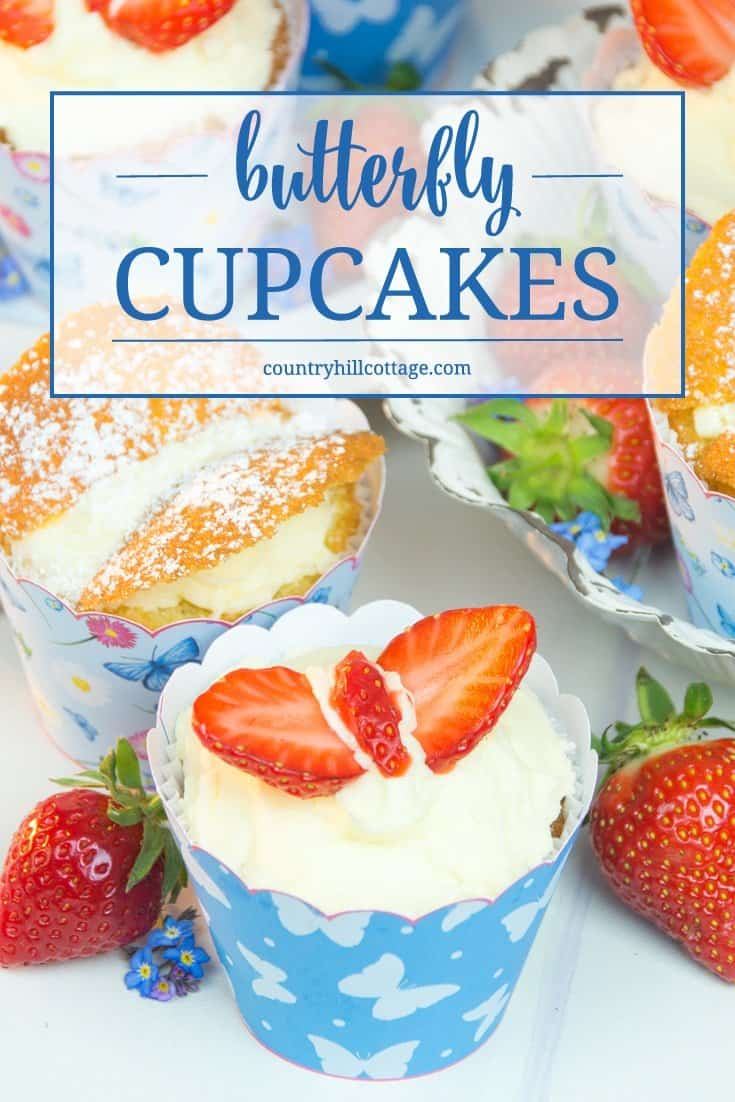 Make a delicious easy, one-bowl cupcake batter, and learn 2 ways to create adorable butterfly cupcakes. #baking #cupcakes #recipe | countryhillcottage.com