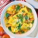 Delicious Italian pasta takes centre stage in our aromatic ravioli soup. Loaded with veggies and ravioli, this soup is the very definition of comfort food. #ravioli #soup #recipe | countryhillcottage.com