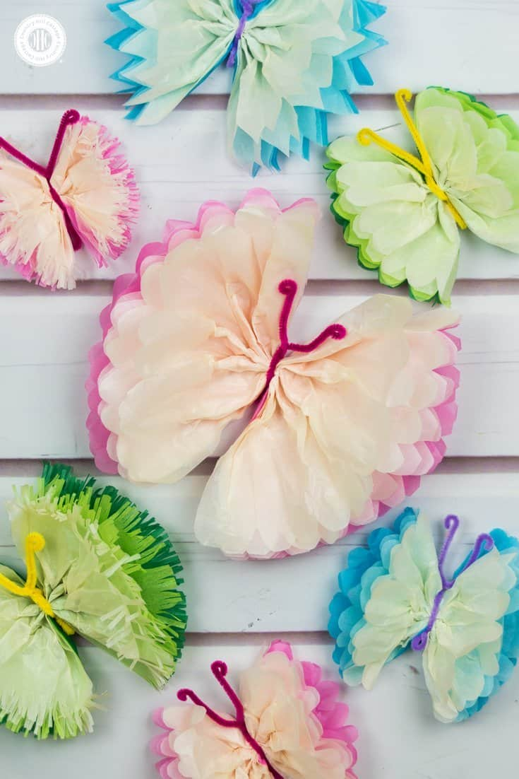 tissue paper butterflies - fun paper craft diy | country hill cottage