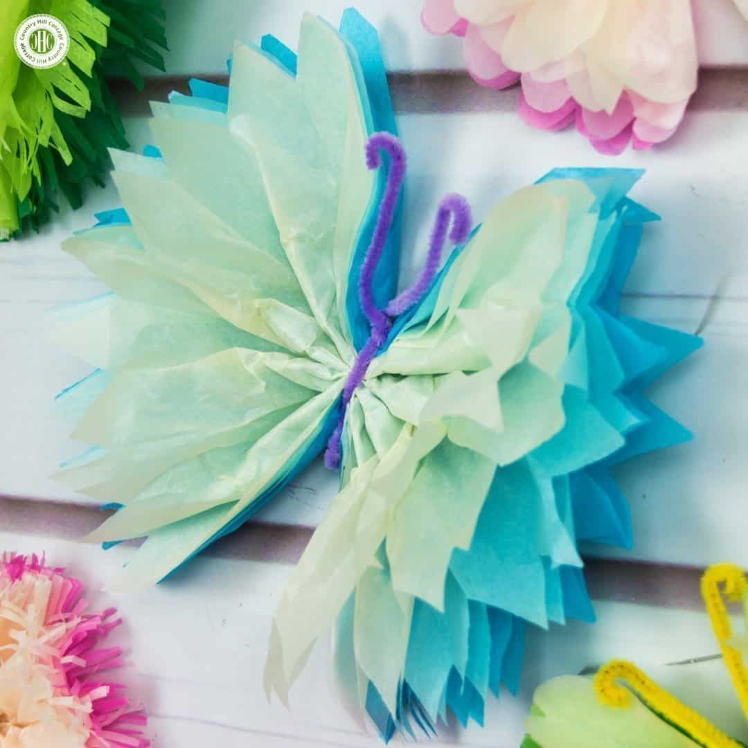 tissue paper butterflies fun paper craft diy country