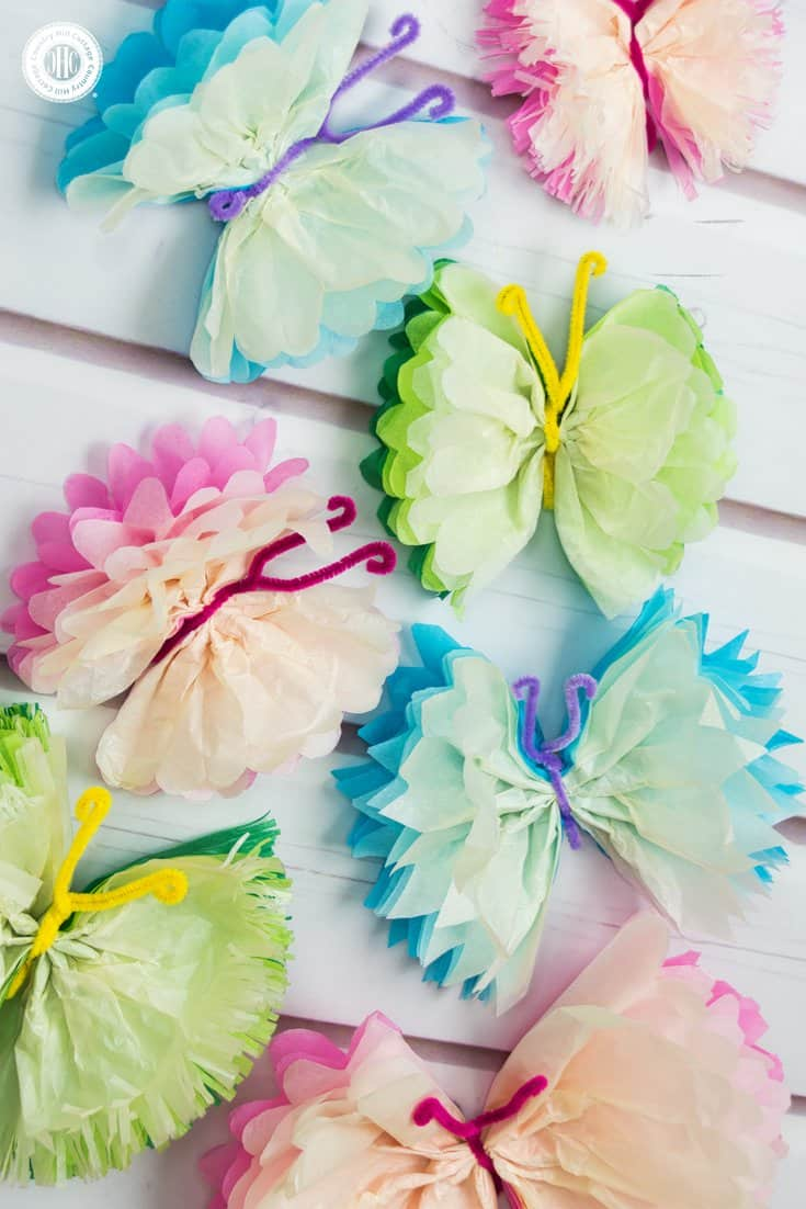 Tissue paper butterflies fun paper craft diy country for Butterflies for crafts and decoration