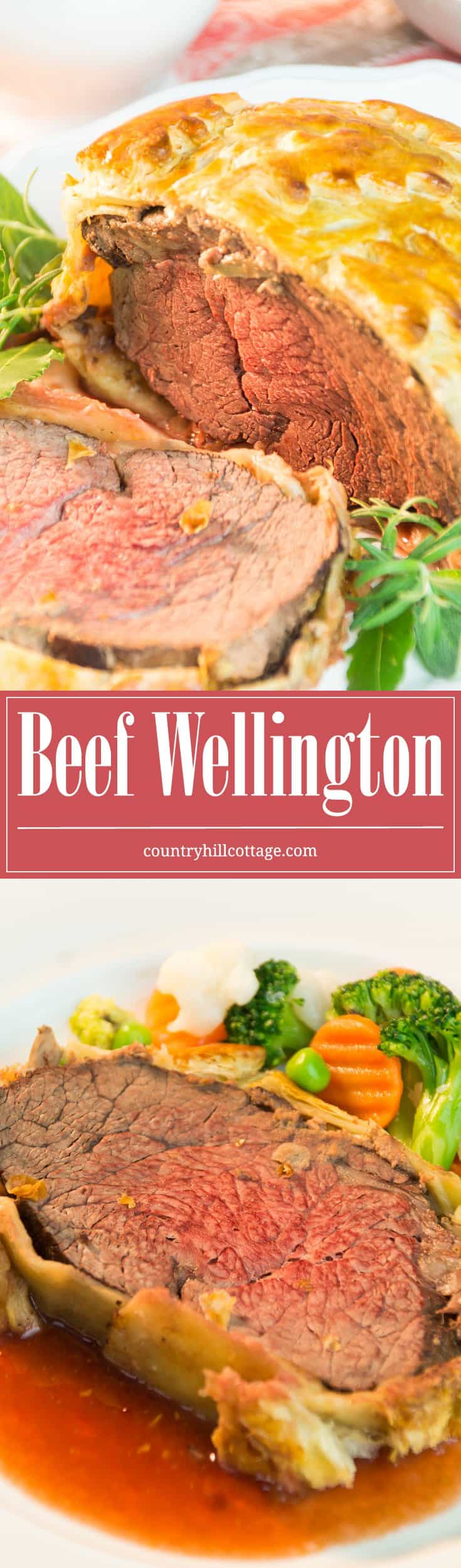 Beef Wellington is made with seared filet steak, layers of pâté and mushrooms, and baked in crispy puff pastry. This classic British dish is perfect for special occasions, and we love to serve it with Cumberland sauce. #recipe #steak #puffpastry   countryhillcottage.com