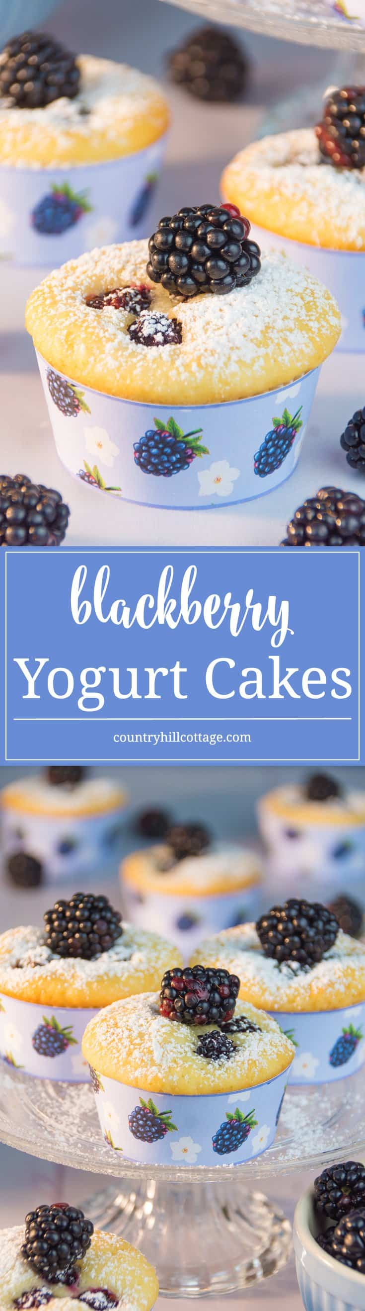 Delicious Blackberry Yogurt Cakes with cute printables wrappers! #blackberries #yogurt #muffins | countryhillcottage.com