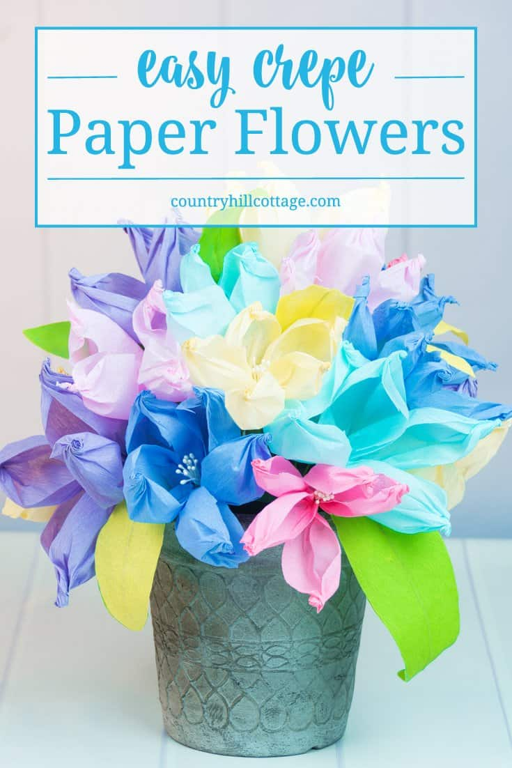 Crepe paper flowers the easiest paper flowers country hill cottage learn to make the easiest crepe paper flowers ever using only a gold ball and izmirmasajfo