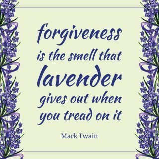 Forgiveness is the smell that lavender gives