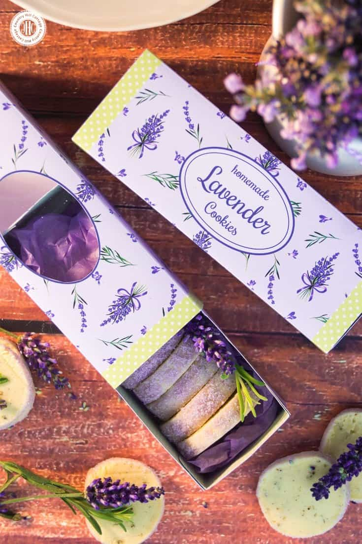 Download the free printable cookie box for lavender cookies at our blog and gift give these aromatic biscuits in style. #freebie #printable #giftbox | countryhillcottage.com