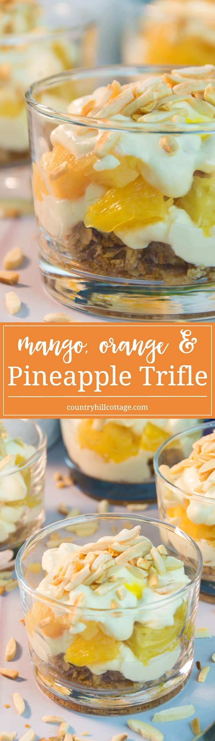 Our mango orange pineapple trifle is made of delicious layers of crushed granola, roasted almonds, fresh pineapple, mango sauce and creamy clotted cream. It tastes both luxurious and creamy, as well as fruity and airy! #dessert #recipe #trifle | countryhillcottage.com