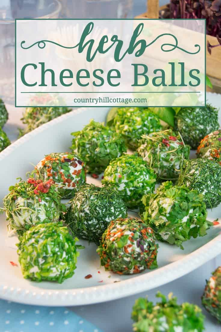 Start off a light summer meal or party with delicious herb-coated cheese balls. The foundation of this mouthwatering and quick-to-make appetiser is made with four different types of cheese that highlight the flavours of the fresh herbs, such as parsley, chives, dill and cress. #herbs #cheese #appetiser | countryhillcottage.com