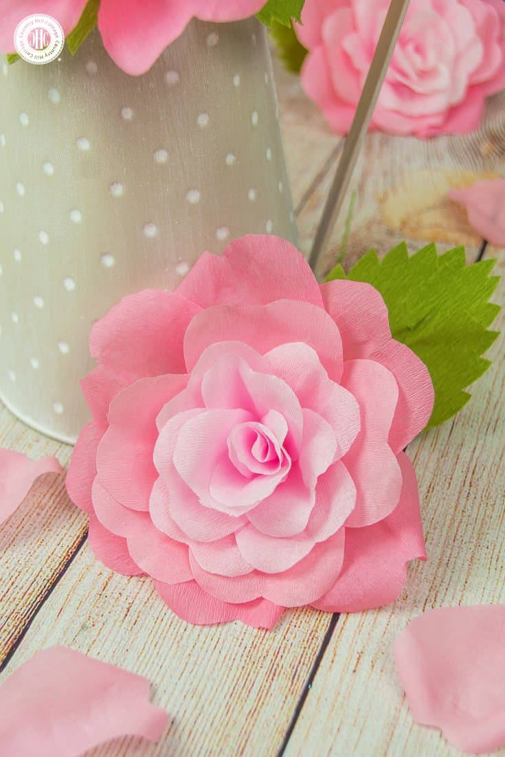 Crepe Paper Roses and a Free Printable Template | Country Hill Cottage