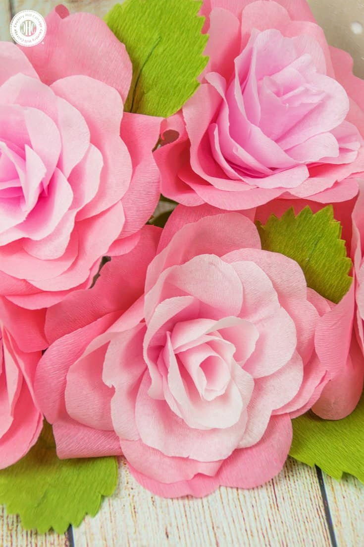 Crepe Paper Roses And A Free Printable Template Country Hill Cottage