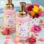 Our DIY liquid rose hand soap foams beautifully and smells amazing. Use our free printable to decorate the soap and to give as a pretty homemade gift! #homemade #soap #beautydiy | countryhillcottage.com