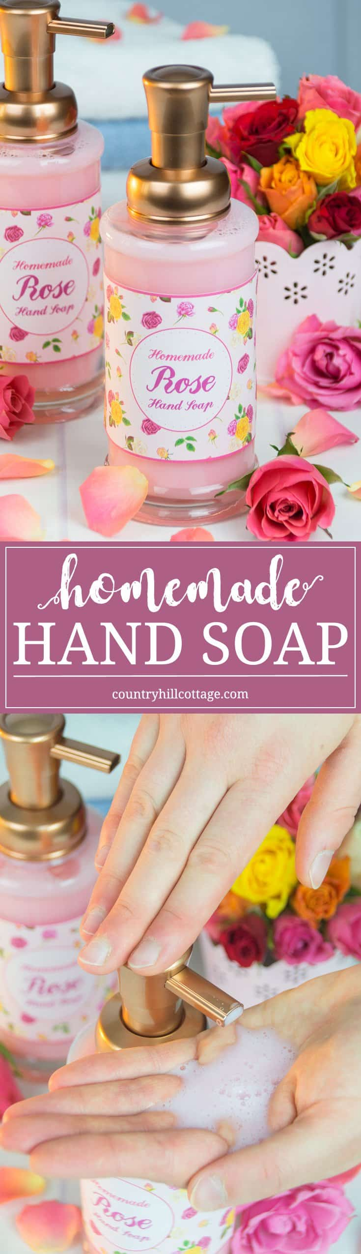 Our DIY liquid hand soap foams beautifully and smells amazing. Use our free printable label to decorate the soap and to give as a pretty homemade gift! #homemade #soap #beautydiy | countryhillcottage.com