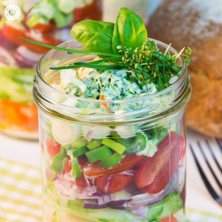This salad in a jar is made of colourful stripes of nutritious veggies and topped off with a delicious yoghurt herb dressing. You can make salad in a jar with almost any vegetables and lettuce you have available. #masonjar #salad #recipe  countryhillcottage.com