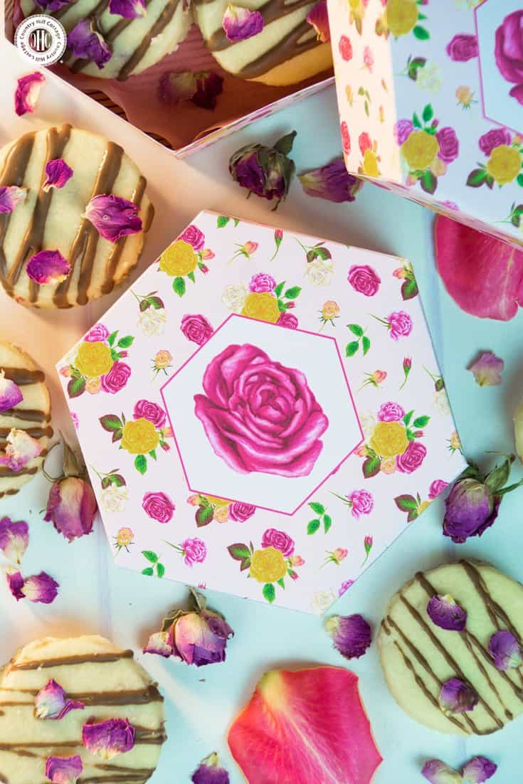 Package treats and biscuits for friends and family in gorgeous hexagon favour boxes featuring our Mary's Rose Garden. You can download the free printable at our blog. #freebie #printable #giftgiving | countryhillcottage.com