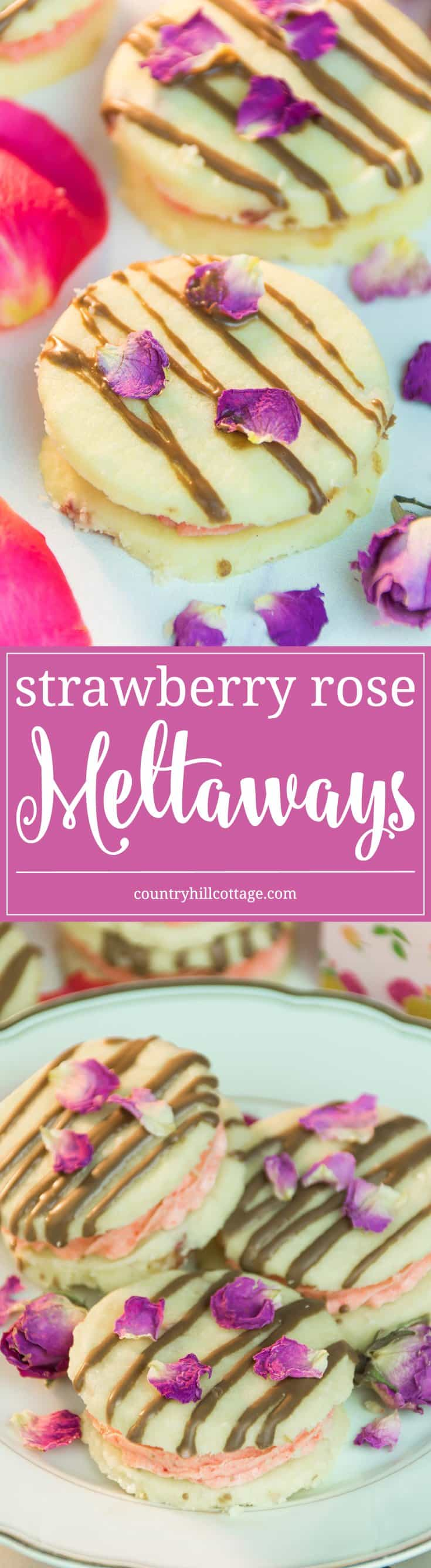 Our strawberry rose meltaways have a delicate, melt-in-your mouth texture. These biscuits are made with dried rose petals, and filled with an airy strawberry and rosewater buttercream. #strawberry #rose #cookies | countryhillcottage.com