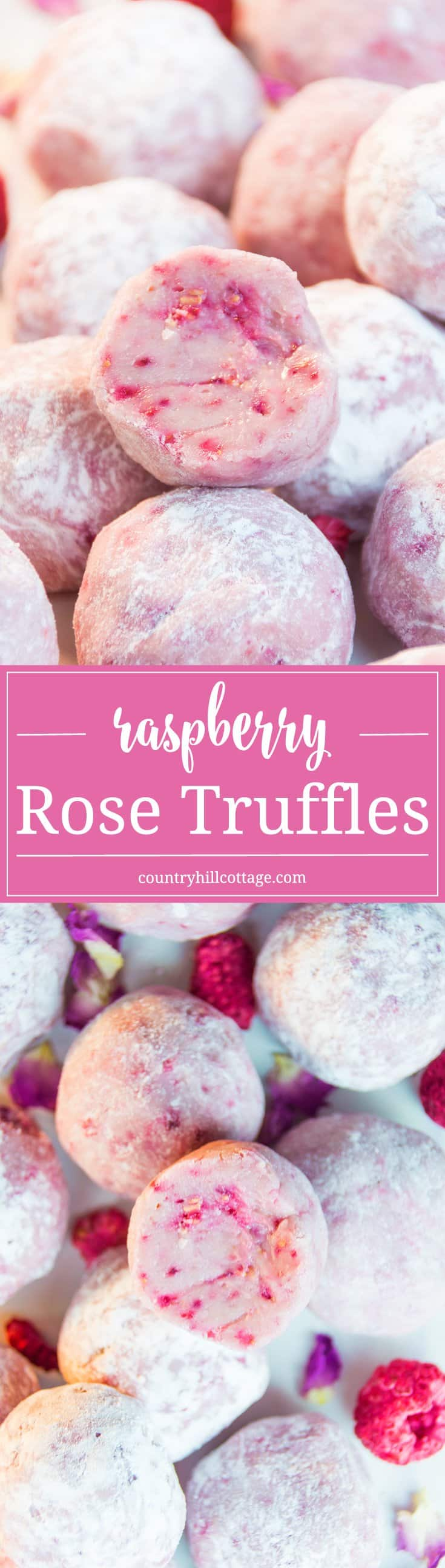 Raspberry rose truffles taste outrageously delicious and you need barely more than white chocolate, freeze-dried raspberries and rosewater to make these tempting treats. #raspberry #chocolate #truffles | countryhillcottage.com