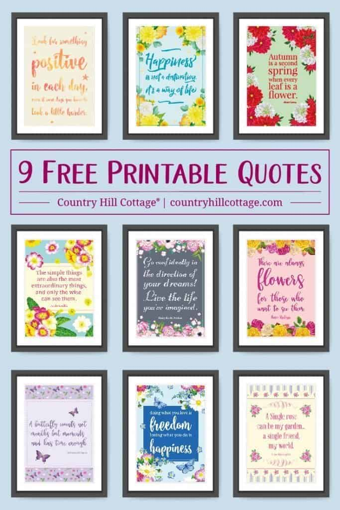 Browse our collection of 9 free printable life quotes to frame and use them to decorate your and office to keep you motivated and stay positive. #quote #positivity #inspiration #motivation #lifequote | calligraphy | for women | for home | floral | décor | typography | 8 x 10 | free prints| color printable | countryhillcottage.com