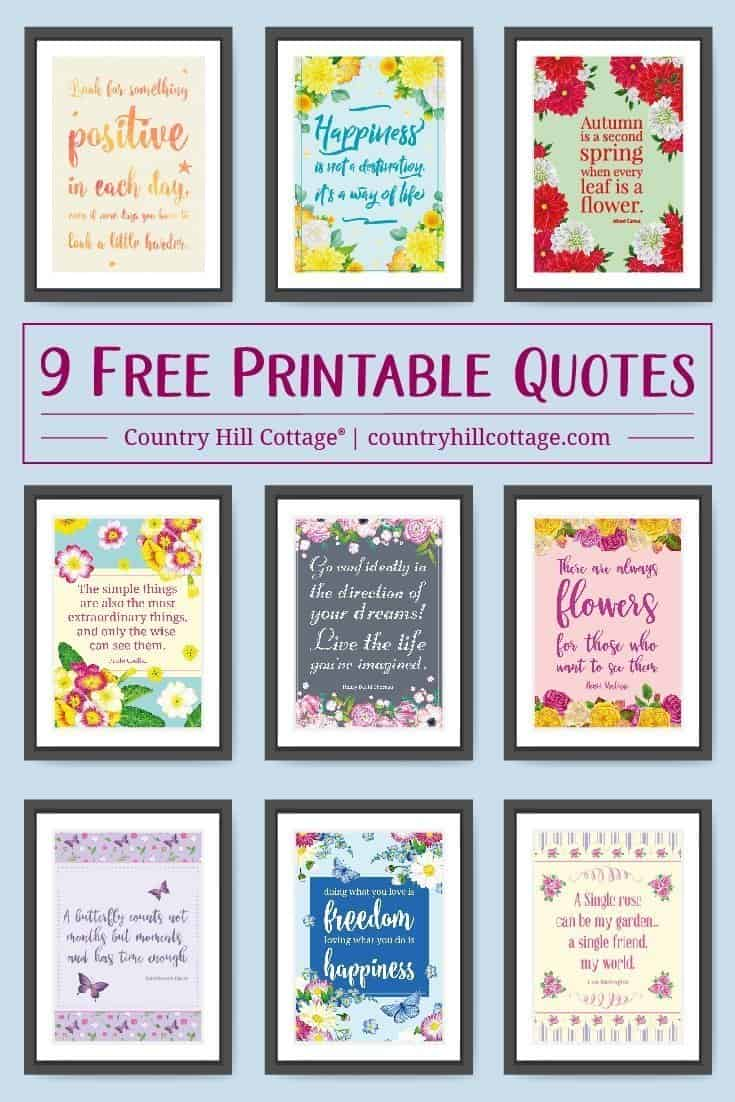 Browse our collection of 9 free printable quotes and use them to decorate your and office to keep you motivated and stay positive. #inspirationalquote | countryhillcottage.com