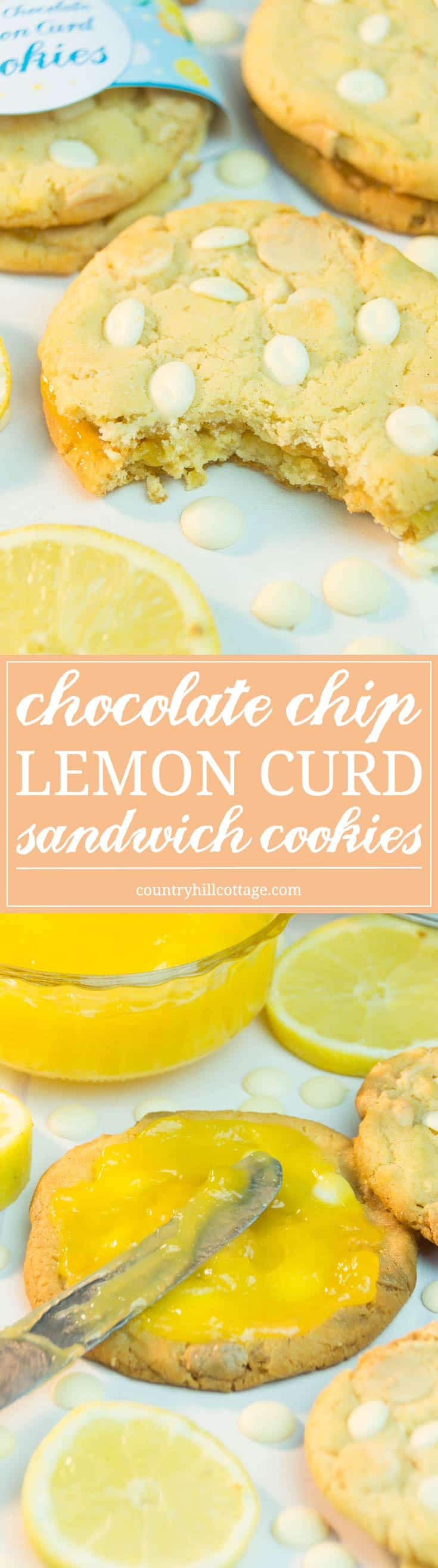 Our yummy chocolate chip lemon curd sandwich cookies will bring out the sunshine in your kitchen! You can savour the cookies on their own or pep them up with an extra layer of lemon curd sandwiched between two cookies. We've also created cute printable cookie wrappers that you can download at our blog. #chocolatechips #lemoncurd #cookies | countryhillcottage.com
