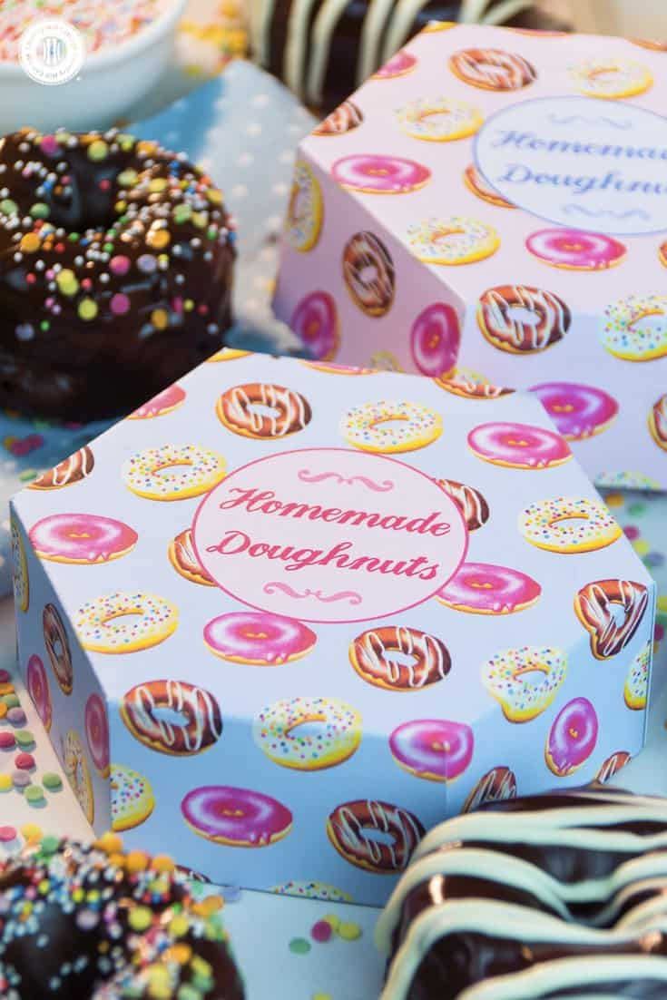 Craft cute printable hexagon doughnut boxes to package your homemade doughnut creations. Head to our blog for the free printable templates. #printable #donutbox #freebie| countryhillcottage.com