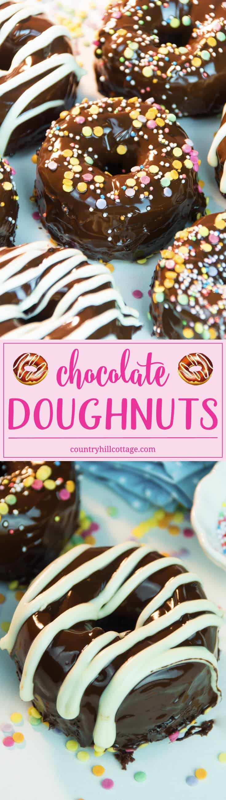 Enjoy delicious chocolate doughnuts with a shiny chocolate glaze! Get our recipe for moist and moreish baked doughnuts and a three-ingredient chocolate glaze that tastes rich and looks beautifully glossy and download a cute printable doughnut box. #doughnuts #donuts #chocolateglaze | countryhillcottage.com