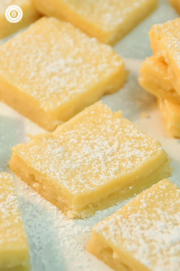Layer a crumbly crust with a flavorful lemon topping to create creamy lemon squares! Dusted with icing sugar, these bars are perfect to serve with tea, or as a delicious present for all lemon lovers. You can find printable treat boxes to gift the lemon squares at our blog. #lemonsquares #baking #recipe | countryhillcottage.com