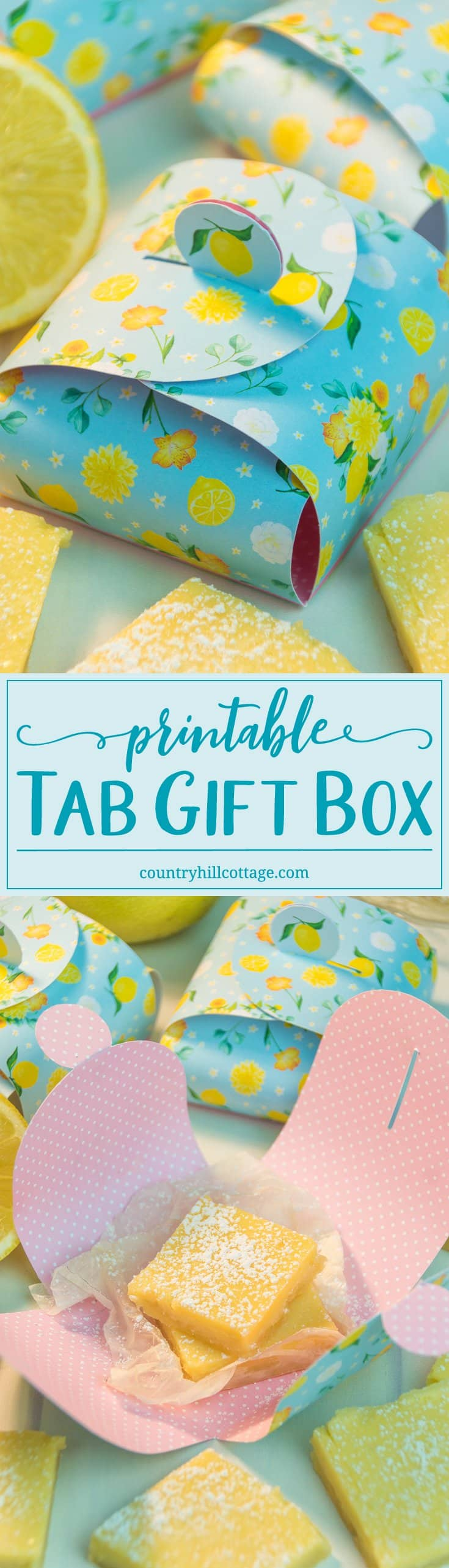 Package our delicious and creamy lemon squares in adorable printable treat boxes and gift them to family and friends! You can get the recipe and free printable at our blog! #freebie #foodgift #printable | countryhillcottage.com