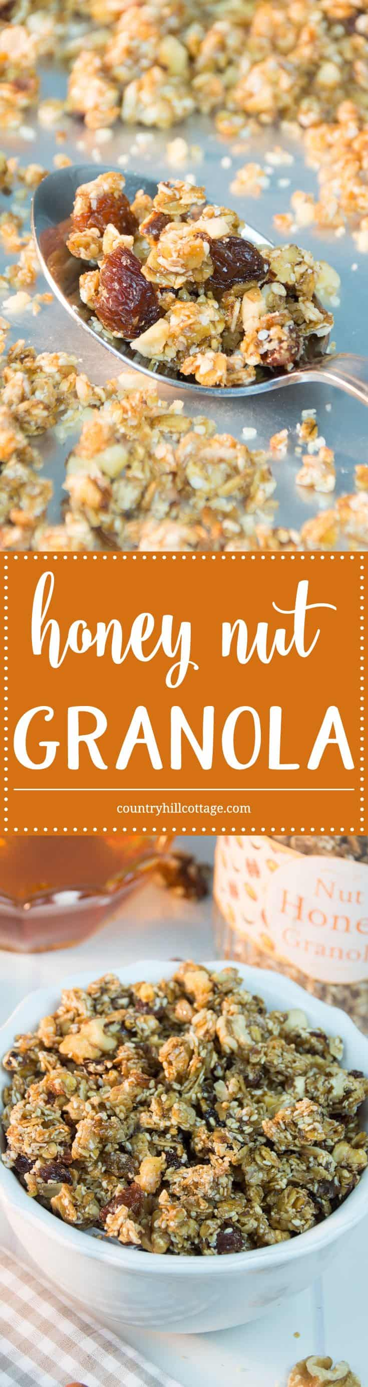 Our crunchy honey nut granola is sure to give a boost of energy in the morning and a nourishing school day breakfast for kids. A delectable mix of nuts, oats, sesame seeds, and honey are roasted to crunchy-sweet perfection. | countryhillcottage.com
