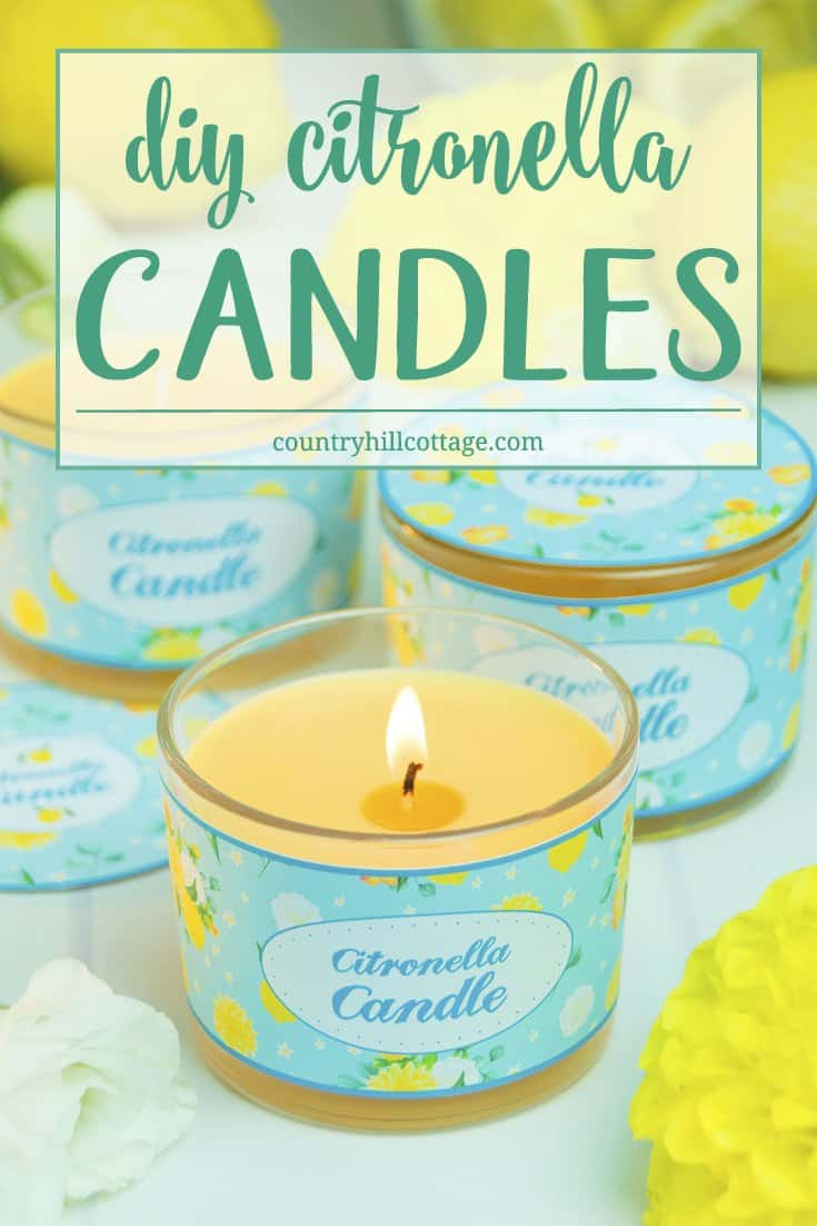 Learn how to make DIY citronella candles at home. Citronella candles are a patio stable in the summer. They not only shine a lovely light when the day turns to dusk, but citronella oils fight off mosquitos and bugs. And for gift giving, decorate the candles with our free printable labels. #diy #citronella #candle | countryhillcottage.com