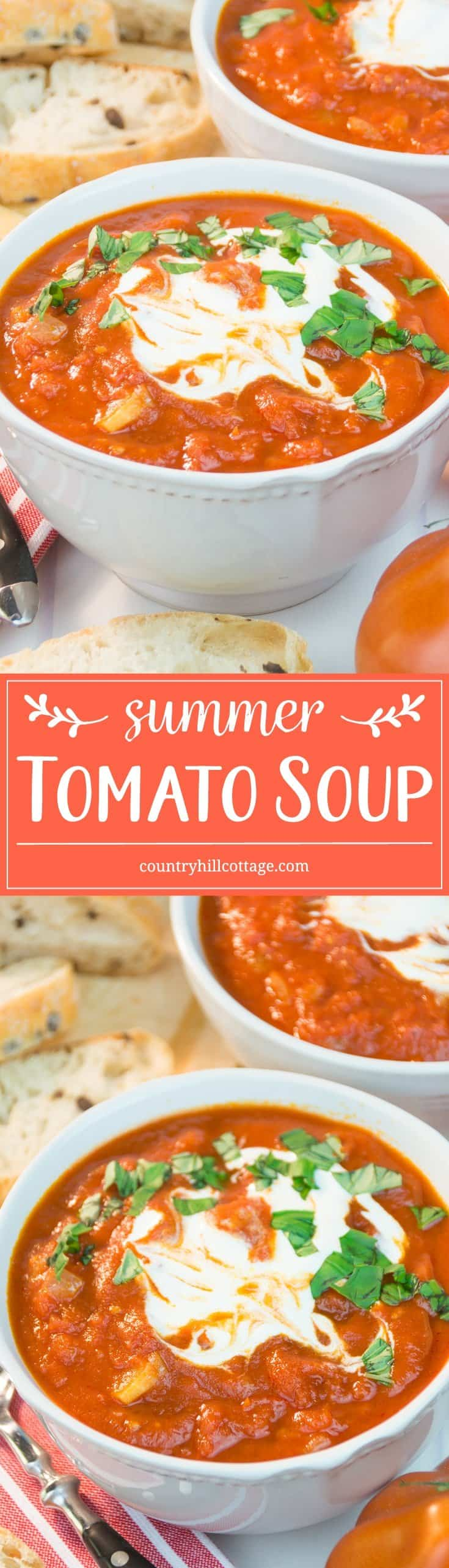 Tomatoes truly are the star in our simple yet scrumptious tomato soup! We only roughly pureed the soup and left a quite a few tomato chunks for a rustic touch your family and guests will appreciate. A dollop of sour cream and a sprinkle of fresh basil round out the tomato soup in the best way! #tomatosoup #tomato #soup| countryhillcottage.com