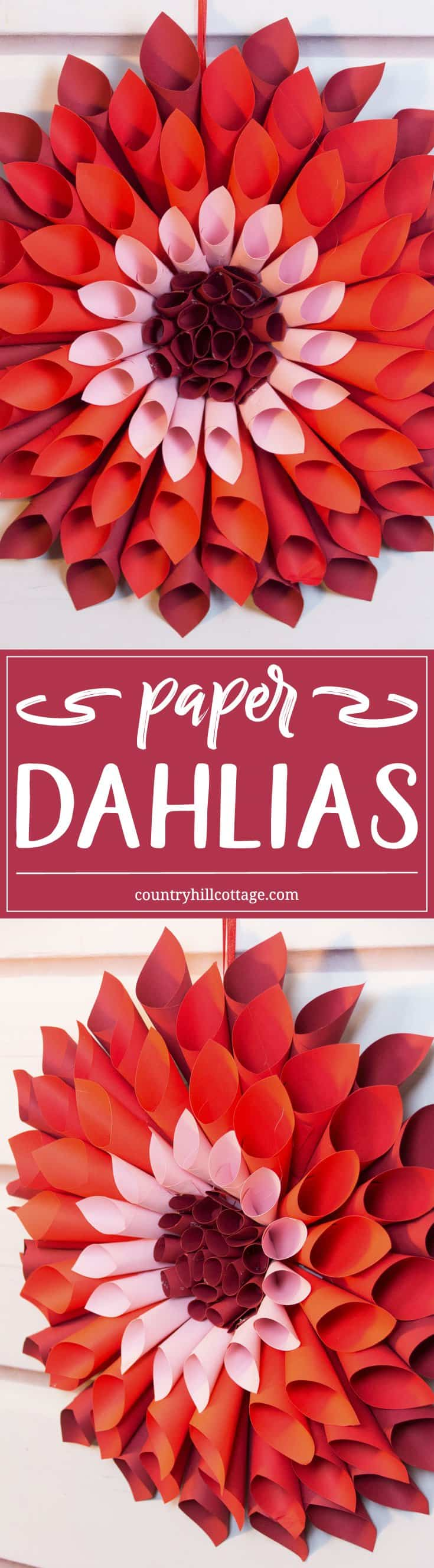 Let's craft giant paper dahlias and use our free printable template to make crafting easier! #papercrafts |countryhillcottage.com